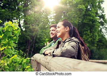 미소, 한 쌍, 와, 배낭, 에서, 자연