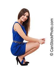 미소, beauty., 인력이 있는, 젊은 숙녀, 에서, 푸른 드레스, 사진기를 보는, 와..., 미소, 동안, 서 있는, 고립된, 백색 위에서