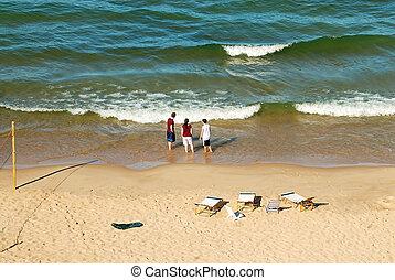 미시간호, 바닷가, 에서, 그만큼, 여름