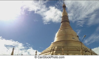 미얀마, 탑, 경과, buddhist, (burma)., 멋진, 시간, 경계표, yangon, 보이는 상태
