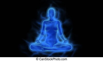 미풍의 상징, chakra, 활성화, 계발, 의, 마음, 에서, 숙려