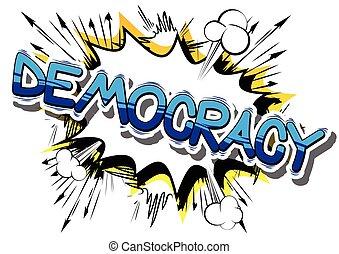 민주주의, -, 만화 책, 스타일, phrase.
