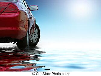 민첩한, 차, 고립된, 빨강 배경, water., 날씬한, 은 반영한다