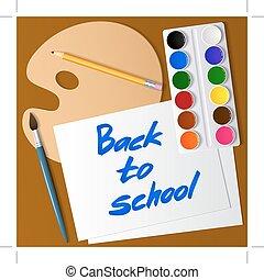 밀려서, 에, school., 공구의세트, 치고는, drawing., 수채 그림물감 페인트, 솔, 연필, 팔레트, paper., 벡터