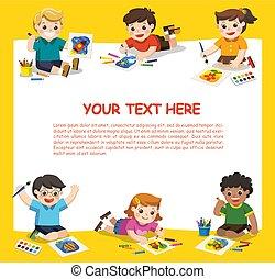 밀려서, 에, school., 예술, kids., 귀여운, 아이들, 재미를 가지고 있어라, 와..., 손 가까이에 있는, 얻을 것이다, 그림, 함께., 본뜨는 공구, 치고는, 광고하는 것, brochure., 아이들, 위로 모양, 와, interest.