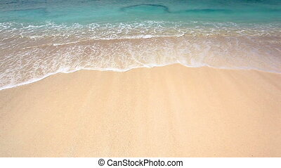 밀려오는 파도, 통하고 있는, a, 모래 바닷가