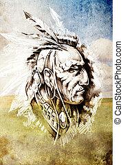 밑그림, 의, 문신, 예술, 인도 사람, 머리, 위의, cropfield, 배경