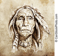 밑그림, 의, 문신, 예술, 초상, 의, american indian, 머리