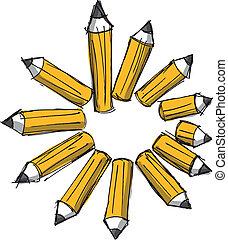 밑그림, 의, 연필, 의, 여러 가지이다, lengths., 벡터, 삽화