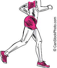 밑그림, runner., 삽화, 벡터, 여성, 마라톤