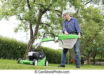 바구니, 잔디, 남자, 일, 잔디 깎는 사람