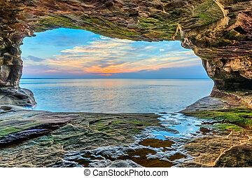 바다, 동굴, 일몰