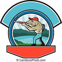 바다, 송어, 사냥꾼, 사격, 원, retro