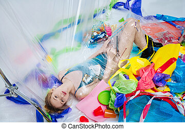 바닥, 정상, 호리호리한, 플라스틱, 감싸인다, 모델, 있는 것, 보이는 상태