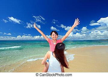 바닷가, 가족, 노는 것