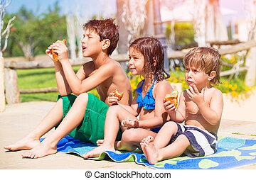 바닷가, 아이들, 행복하다