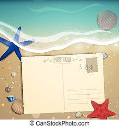 바닷가, 여름, 벡터, 디자인