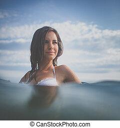 바닷가, 여자, 일, 남자가 멋을 낸, 즐기, 나이 적은 편의
