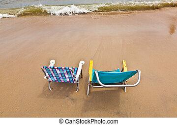 바닷가, 와, 2, 의자, 치고는, 몸을 나른하게 하는