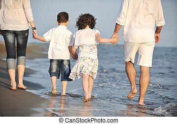 바닷가, 일몰, 가족, 행복하다, 재미, 속이다, 나이 적은 편의