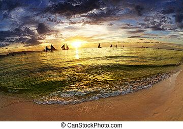 바닷가, 일몰, 열대적인