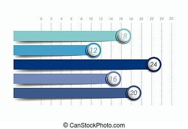 바람 빠진 타이어, 도표, graph., 간단하의, 색, editable., infographics, elements.