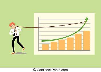 바람 빠진 타이어, 만화, 벡터, 삽화, 의, 나이 적은 편의, 사업가, 끌는, 그만큼, 로프, 통하고 있는, 녹색, 화살, 에, a, 사업, 그래프, 막대 그림표
