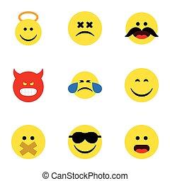 바람 빠진 타이어, 세트, elements., 천사, 얼굴, 은 포함한다, emoji, 역시, 벡터, 이모티콘, 조용하게 하다, objects., 아이콘, 다른, 미소, 행복하다