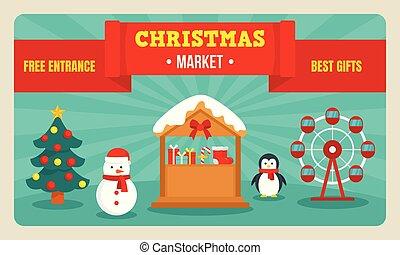 바람 빠진 타이어, 스타일, 크리스마스, 시장, 기치