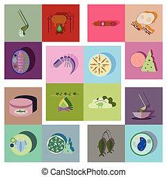 바람 빠진 타이어, 아이콘, 음식, 현대, 수집, 벡터, 그림자