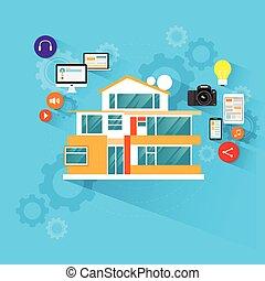 바람 빠진 타이어, 아이콘, 집, 디자인, 장치, 기술, 전자의, 똑똑한