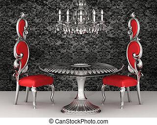 바로크, chairs., 왕다운, wallpaper., interior.
