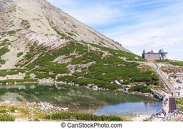 바위가 많은, mountain-lake, 에서, 그만큼, 높은, tatras, 국립 공원, 에서, 슬로바키아 공화국, europe.