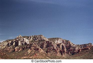 바위, 언덕, 빨강 사막