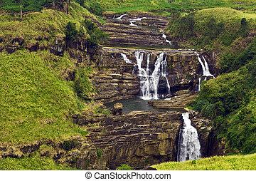 바위, 폭포, 에서, 스리랑카