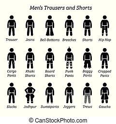 바지, shorts., 사람, 헐떡거림