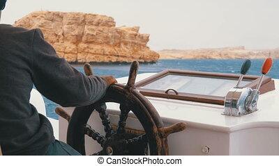 바퀴, 관광객, rocks., 요트, 통제, 폭풍우, 쾌락, 경감, 조타, 바다, boat.