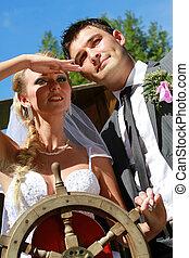 바퀴, 한 쌍, 조타, 결혼식