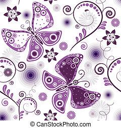 반복, 꽃의, white-violet, 패턴