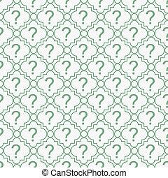 반복, 패턴, 상징, 물음표, 녹색의 배경, 백색