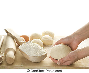 반죽, 백색, 빵 굽기, 고립된