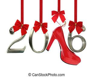발꿈치로 바닥을 구르다, 구두, 리본, 높은, 수, 2016, 빨강, 매다는 데 쓰는