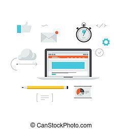 발달, 웹, 삽화, 작업 흐름