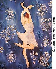 발레리나, 백색, 그림, silk., 춤.