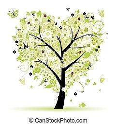 발렌타인, 나무, 사랑, 잎, 에서, 심혼