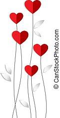 발렌타인, 벡터, 카드, 와, 심장, 꽃, 만든, 의, 종이