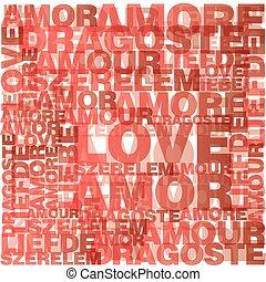발렌타인, 심장, 에서, 사랑, 낱말