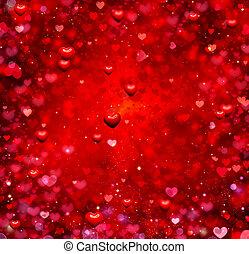 발렌타인, 심혼, 배경., 연인, 빨강, 떼어내다, 벽지