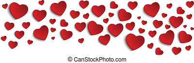 발렌타인, 일, 심장, 백색 위에서, 배경