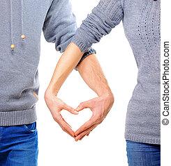 발렌타인, 한 쌍, 사랑안에, 전시, 심장, 와, 그들, 손가락